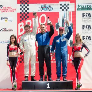 BRNO, Czech Republic - 06. Juli 2014: ADAC HAIGO Historic Formel Cup, Rennen 2, Siegerehrung, 1. Falk Schwarze, 2. Nils-Holger Wilms (li.), 3. Jaak Kuul