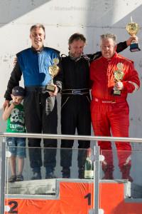 KLETTWITZ, Germany - 25. Mai 2014: ADAC HAIGO Historic Formel Cup, Rennen 2, Siegerehrung; 1. Jörg Koitsch, 2. Falk Schwarze (li), 3. Bernd Weber